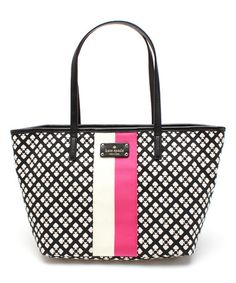 Love this Black & Cream Small Harmony Classic Leather Tote by Kate Spade on #zulily! #zulilyfinds