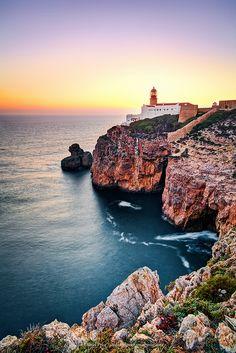 De vuurtoren van Sagres, Algarve, Portugal.  Het meest zuid-westelijke puntje van Europa