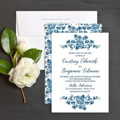 Romantic Toile wedding Invitation in antique china blue and white with hand drawn floral details.
