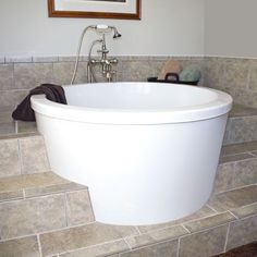"japanese soaking tub | Cosmo Round Japanese Soaking Tub - Single Seat - 47"" Diameter x 32"" H ..."