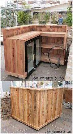 Preiswerte DIY Holzpaletten Projekte für dieses Jahr – Ellise M. Cheap DIY wooden pallet projects for this year – # for pallets Wood Pallet Bar, Wooden Pallet Projects, Diy Pallet Furniture, Wooden Pallets, Wooden Diy, Furniture Ideas, Pallet Ideas, Pallet Counter, Diy Projects
