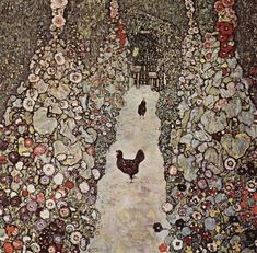 Garden with Roosters, 1917 by Gustav Klimt, Late works. Art Nouveau (Modern)…
