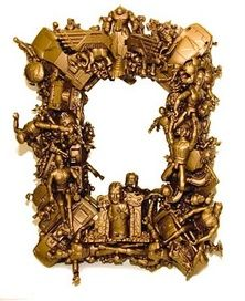 A recycled art mirror using old plastic toys, and sprayed gold in the style of Louise Nevelson. Recycled Toys, Recycled Art, Recycled Materials, Repurposed, Diy Projects To Try, Art Projects, By Any Means Necessary, Assemblage Art, Old Toys