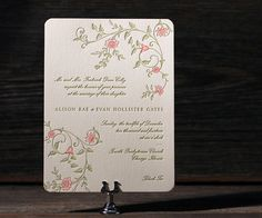 Letterpress wedding invitations with swirls of pretty floral branches are romantic and sweet Printemps from Amy Graham Stigler.
