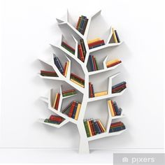 Bookshelf Ideas to Decorate Room and Organize Your Book - Page 42 of 61 - LoveIn Home Tree Bookshelf, Creative Bookshelves, Bookshelf Design, Wall Bookshelves Kids, Bookshelves For Small Spaces, Tree Shelf, Bookshelf Ideas, Library Wall, Boho Home