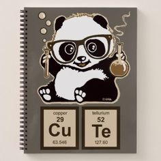 Chemistry panda discovered cute notebook - humor funny fun humour humorous gift idea