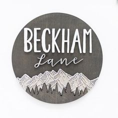 Personalized Round Sign with Mountain and Trees, Woods Name Sign, Modern Nursery Decor, Woodland Nursery, Mountain Range Nursery Sign Cute Baby Names, Unique Baby Names, Boy Names, Nursery Name, Nursery Signs, Wood Name Sign, Wood Signs, Magnolia Font, Modern Nursery Decor