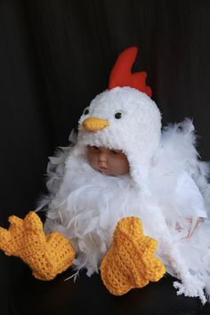 deLux CHICKEN MITTENS rooster puppet ADULT knit LINED animal hen costume gloves