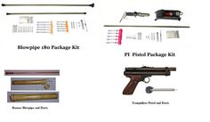 You need to protect yourself quietly with lightweight objects that won't run out of ammo. Dan-Inject: Blowpipe & Pistol package (with foot-pump instead of C2 cartridge). They sell rifles too. Borneo Bamboo Blowgun (Wholesale Goods LLC): weighs 5 oz., comes with 4 hand-made darts. You could replicate darts and make more. Tranquilizer Pistol (Big Pets Outlet Store): needs a Co2 gaspak, gun weighs 2 lbs. Could be mistaken for a real gun if you had to protect yourself but don't want to kill…