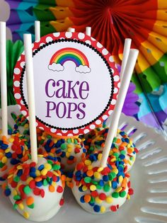 50 Rainbow Desserts Rainbow cake pops + Top 50 Rainbow Desserts - the perfect way to celebrate St. Patrick's Day and welcome spring!Rainbow cake pops + Top 50 Rainbow Desserts - the perfect way to celebrate St. Patrick's Day and welcome spring! Rainbow Loom Party, Rainbow Parties, Rainbow Birthday Party, Bounce House Birthday, Rainbow Brite, Trolls Birthday Party, Art Birthday, Birthday Party Themes, Birthday Desserts