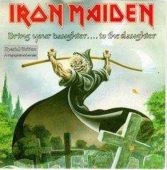Iron Maiden Bring Your Daughter To The Slaughter 1990 UK vinyl Hard Rock, Heavy Metal Rock, Heavy Metal Bands, Woodstock, Rock Bands, Iron Maiden Mascot, Evil Pictures, Iron Maiden Albums, Iron Maiden Posters