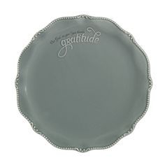 Antique Teal Salad Plate | $18 | Message: gratitude, Our God we give you thanks.