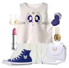 """Artemis!!!!"" by adventuretimekitty ❤ liked on Polyvore featuring Milly, Converse, Lipstick Queen, Andrea Fohrman, gold, white, Blue, sailormoon and artemis"