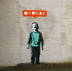 street art stencils show social media culture through graffiti