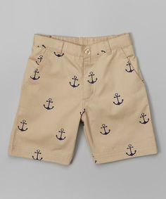 Look at this #zulilyfind! Khaki Anchor Shorts - Infant, Toddler & Boys by Sophie & Sam #zulilyfinds