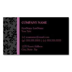 Hip Black Velvet Business Cards (Pink)