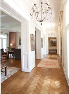 , Adorable Traditional Hall Design With Captivating Wood Floor Designs Also Gorgeous Chandelier Design With White Wall Paint Color Also Elegant Mat Also Gray Elegant Living Room Chairs: Good Looking Wood Floor Patterns For Your Home Flooring House Design, House Interior, Wood Floor Design, Home, Interior, Herringbone Wood Floor, Hallway Designs, Home Decor, Floor Design