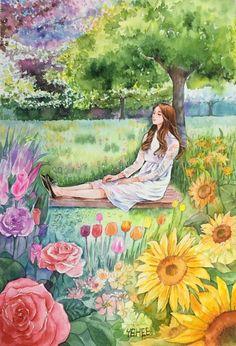 Mosaic Wall Art, Beautiful Fantasy Art, Wall Art Pictures, Anime Art Girl, Cute Cartoon Wallpapers, Cartoon Art, Cute Drawings, Oeuvre D'art, Cute Art