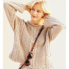 Cable and Garter Pullover pattern by Adrienne Vittadini