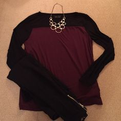 Long Sleeve cotton shirt Color block shirt. Black and wine colored. Worn a few times but perfect condition. Kate Hill Tops