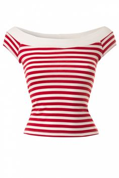 Bettie Page Clothing - Coast Guard Off Shoulder Top in Red White Stripes #topvintage