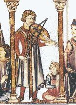 A musician plays the vielle in a fourteenth-century Medieval manuscript.