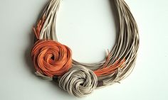 Natural and orange fiber necklace Spring Summer par superlittlecute, $52,00