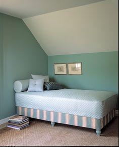 make a daybed out of a twin mattress set by adding wooden legs to the bottom of the box spring. I would also add an antiqued wrought iron headboard or fencing/gate for the back and two antiqued wrought iron footboards (do not have to match) for the sides. Think it would be precious.
