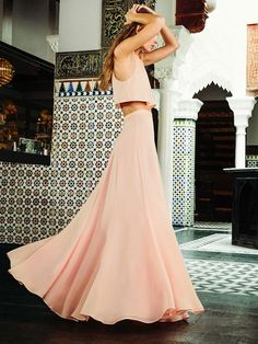 Reformation Harper Two Piece in Soft Pink