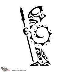 TATTOO TRIBES: Tattoo of Tiki warrior, Protection tattoo,warrior tiki sun spiral tattoo - royaty-free tribal tattoos with meaning Maori Tattoo Meanings, Tribal Tattoos With Meaning, Maori Tattoos, Samoan Tattoo, Body Art Tattoos, Small Tattoos, Sleeve Tattoos, Borneo Tattoos, Tiki Tattoo