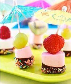 Marshmellow feestje (chocolade/glazuur, met/zonder fruit, met sprinkels):
