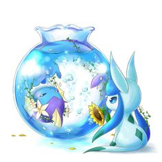 Vaporeon & Glaceon Pokemon Fan Art, Pokemon Tattoo, Pokemon Sun, Pokemon Eevee Evolutions, Pokemon Terrarium, Little Dragon, Kawaii Wallpaper, Cute Little Animals, Pokemon Pictures