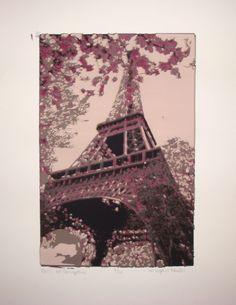 """""""Paris at Springtime"""" -- serigraphy print I made."""