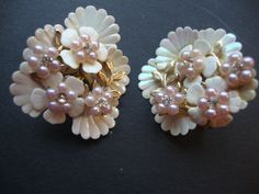 Coro 1950's Rhinestone and Seed Pearl Flower Earrings. $8.00, via Etsy.