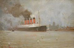 The Steamship 'Lusitania' in the Mersey, November 1907  by Frank Thomas Copnall   Date painted: 1907 Oil on leathercloth, 53.7 x 79.3 cm  Collection:  National Maritime Museum