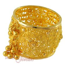 Gold Wide Band - - Gold extra-wide Ring ( Indian Gold Band) with Gold dangling, lazer cuts and filigree work on i Gold Bangles For Women, Gold Bangles Design, Gold Earrings Designs, Gold Toe Rings, Gold Bands, Gold Ring Indian, Beautiful Gold Rings, Gold Jewelry Simple, Gold Jewellery