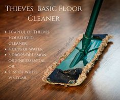 Thieves Household Cleaner Basic Floor Cleaner and a Zillion other cleaning recipes Essential Oils Cleaning, Essential Oil Uses, Thieves Essential Oil, Lemon Essential Oils, Homemade Cleaning Products, Natural Cleaning Products, Natural Cleaning Recipes, Diy Products, Young Living Oils