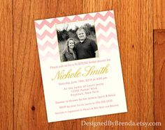 Pink Chevron Bridal Shower Invitation with Photo - from Designed By Brenda