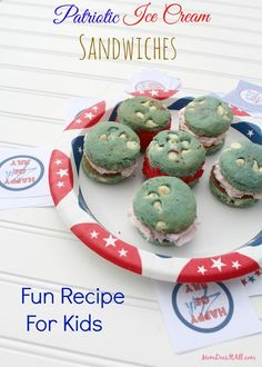 Mini Patriotic Ice Cream Sandwiches make perfect little desserts for a Memorial Day or 4th of July party!