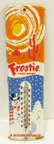 FROSTIE ROOT BEER VINTAGE TIN ADVERTISING SODA THERMOMETER 4 SEASON FAVORITE Advertising And Promotion, Advertising Signs, Vintage Advertisements, Beer Signs, Old Signs, Antique Signs, Retro Font, Vintage Tins, Root Beer