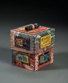 handmade paper, wax resist, stitching, box constructiion. ©Claudia Lee      www.claudialeepaper.com