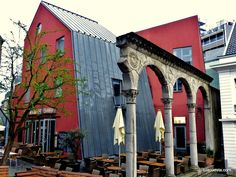mixture of ruins and new architecture in Aachen - Aquisgrán - Aix-la-Chapelle, Germany