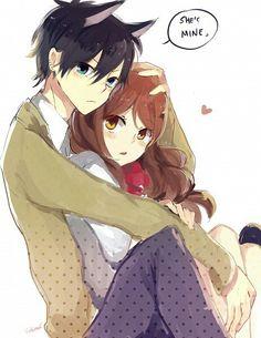 Horimiya Art Anime Boy Manga Couple Love School And Girl Monochrome Kiss