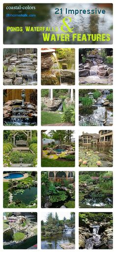 21 Impressive Ponds, Waterfalls & Water Features | curated by 'Coastal-Colors' blog!