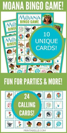 Moana Bingo Game – Free Party Printables at Printabelle