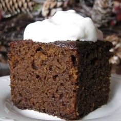 :: Havens South Designs :: Old-fashioned gingerbread.Very healthy and delicious ginger bread cooked in slow cooker and served with whipped cream. Old Fashioned Gingerbread Recipe, Easy Gingerbread Recipe, Gingerbread Cake, Christmas Gingerbread, Gingerbread Houses, Baking Recipes, Cake Recipes, Dessert Recipes, Christmas Desserts