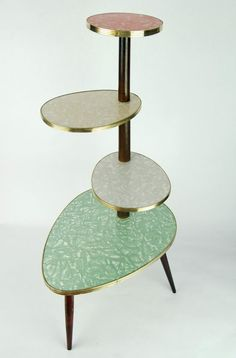 PLANT STAND Eames Stilnovo Italy 60s Era [I do like the formica, and the elegant placement of tiers. Nicely weighted at the base.