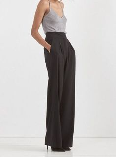 Minimally Classic: wide leg pants with a strappy tank