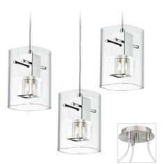 Square Glass Brushed Nickel Triple Multi Light Pendant - #X9880-U5886 | Lamps Plus