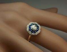 Antique Sapphire and Diamond Engagement Ring c. 1910 2